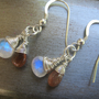 Sunstone and Moonstone Teardrop Briolette Earrings, Wire Wrapped, Sterling Silver