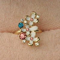 Flower Rainbow Vintage Fashion Adjustable Ring | LilyFair Jewelry