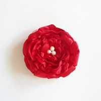 Red Fabric Flower Hair Clips, Red Flower Hair Accessories, Satin and Organza Fabric Flower Clips, Adult, Women, Gifts, Handmade