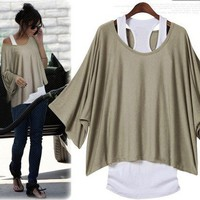 Khaki Bat Sleeve Two Loose Fashion Sets T-shirt Vest