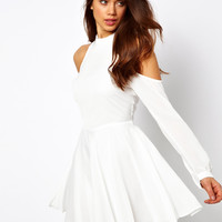 True Decadence | True Decadence Skater Dress with High Neck and Cold Shoulder at ASOS