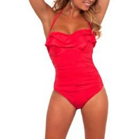 Adjustable String Halter Ruffle Top One Piece Bathing Suit Swimsuit Swimwear:Amazon:Clothing