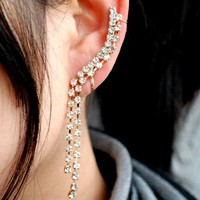 Diamond Water Stream Wrapping Single Ear Cuff | LilyFair Jewelry