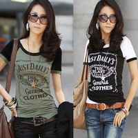 Vogue Asymmetric Hem Short Sleeve English Letters Casual T-shirt Tops Tee