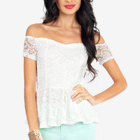 Alena Lace Peplum Top $25