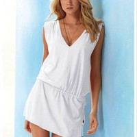 Cover-up,beach Casual Short Dress (White):Amazon:Beauty