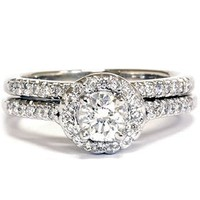 Real .75CT Pave Halo Diamond Engagement Vintage Ring Set Round Brilliant Cut