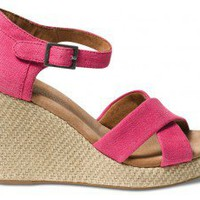 Pink Hemp Women's Strappy Wedges | TOMS.com