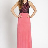 Pink Maxi Dress with Black Lap Top
