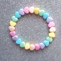Pastel Hearts Rainbow Stretch Bracelets - Set of 2
