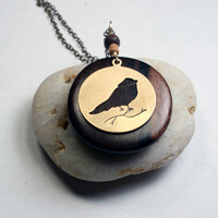 Bird Pendant Necklace - Bird silhouette in brass, wood necklace
