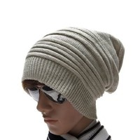 Allegra K Mens Ribbed Cuff 2 Color Knitted Beanie Hat Light Gray White:Amazon:Clothing
