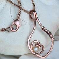 Rose Copper Heart Necklace with Golden Moonlight Pearl