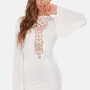 One Rad Girl Natalia Plunging Backless Ivory Dress