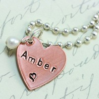 Personalized Copper Heart with Pearl/Charm - Hand Stamped