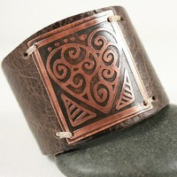 Heart Leather Cuff Etched Copper