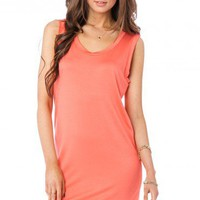 Ronny Jersey Dress in Coral - ShopSosie.com