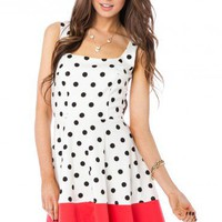 Fit and Flare Polka Dotted Dress - ShopSosie.com