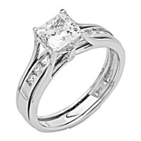14K White Gold Princess-cut 2.00 CTW Equivalent CZ Cubic Zirconia Ladies Solitaire Engagement Ring and Wedding Band 2 Two Piece Set (Size 4 to 12) - Size 4