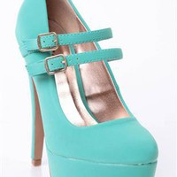 platform pump with double mary jane strap - 1000051433 - debshops.com