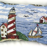 Lighthouse and Sail Boats Decorative Tapestry Pillows