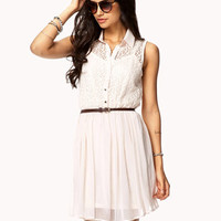 Chiffon Lace Shirt Dress w/ Belt | FOREVER 21 - 2047188113