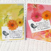 Birds of a Feather Note Card Set of Two Handmade Cards