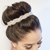 CAPTIVE crystals, beads, headband, hair bun, bridal, ribbon, wedding, bride, hair accessory
