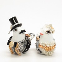 Black White and Touch of Apricot Wedding Cake Topper Love Birds 0063