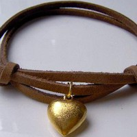 Golden Hearted Leather Bracelet