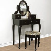 Black Vanity Table Set Jewelry Armoire Makeup Desk Bench Drawer