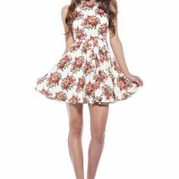 Cream Floral Mini Skater Dress
