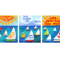 Childrens Wall Art PRINT Set, You Are My Sunshine Sailboats, Three 8x10's, Nursery Decor