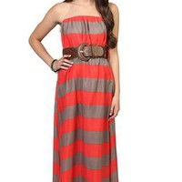 thick stripe strapless maxi day dress with crochet belted waist  - 1000047392 - debshops.com