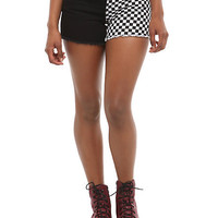 Royal Bones Checkered Split Leg Shorts | Hot Topic