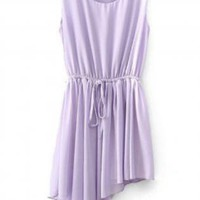 Adorable Asymmetrical Hem Sleeveless Dress