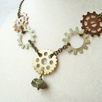 Steampunk Gear & Geometric Pyrite Semi Precious Stone Necklace
