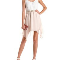 Belted Lace-Back Hi-Low Dress: Charlotte Russe