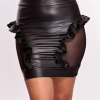 Black Side Mesh Ruffle Trim Skirt