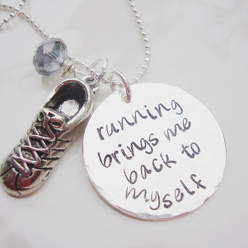Running brings me back to myself silver hand stamped disc with czech crystal and running shoes charm