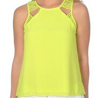 Crosses the Line Top in Lime - New Arrivals
