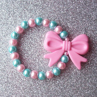 Pastel Pearls and Pink Bow Charm Stretch Bracelet