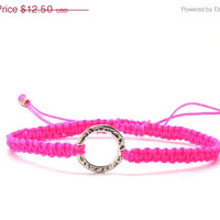 On Sale Neon Pink Friendship Bracelet, Macrame, Sterling Silver