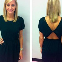 Black Knot Open Back Dress