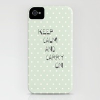 Keep Calm and Carry on ~ polka dot ~ poster ~ typography ~ illistration iPhone Case by Shabby Design Studio | Society6