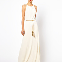 Mango Train Trim Maxi Dress With Belt