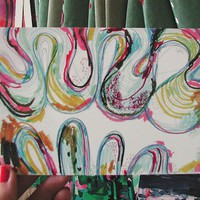 POSTCARD - Big Squiggles, snail mail that is also a small fine art print of a drawing of squiggly lines by Rina Miriam Drescher