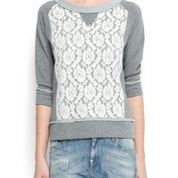 MANGO - NEW - Lace panel sweatshirt