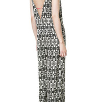 V-NECK PRINTED JUMPSUIT - Jumpsuits - TRF - ZARA United States