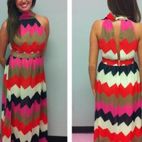 Boho Maxi Chevron Dress